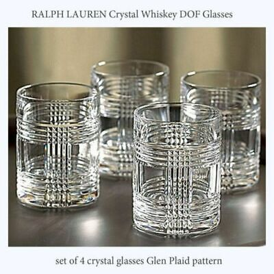 Ralph Lauren GLEN PLAID Double Old Fashioned Glasses NEW IN BOX Set of 4