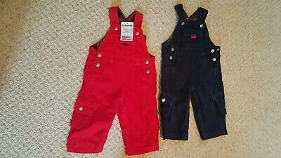 Jojo Maman Bebe Baby Boy 6-12 Months Cord Dungarees x2 red and blue.