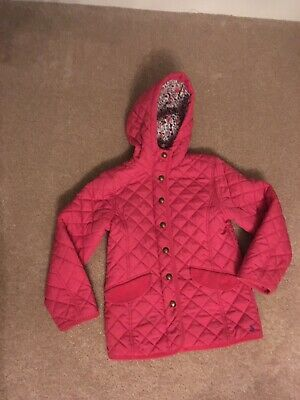 Joules Girls Pink Quilted Coat With Hood Age 8