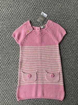 Girls Next Pink And White Stripes Knitted Dress Age 3-4 BNWT