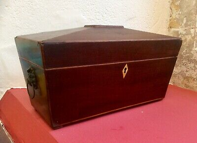 Antique Victorian Mahogany Sarcophagus Tea Caddy,Jewellery Box,Trinket Case,1800