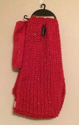 New Faded Glory Fingerless Gloves & Infiniti Scarf Knit Red Multi 2 Pc