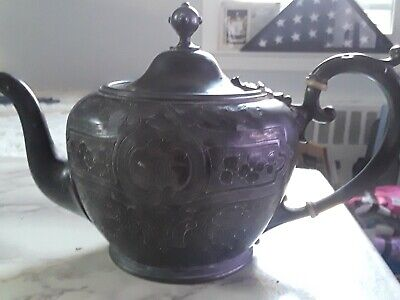 Antique Ornate Rogers Smith & Co New Haven CT 1860 Small Tea Pot Silver Plate