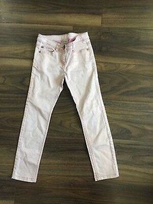 Next girls denim pink trousers with gold shine with adjustable waist-Age 8 years