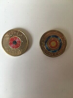 AUSTRALIA 2018 - UNC - $2 ANZAC ETERNAL Flame & $2 REMEMBRANCE Day Poppy coins