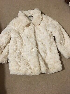 Girls Beautiful Cream Fur Style Smart Coat 5 - 6 Yrs Super Soft Feel