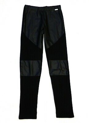 Girls Junior Gaultier Black Leggings Trousers Faux Leather Age 10