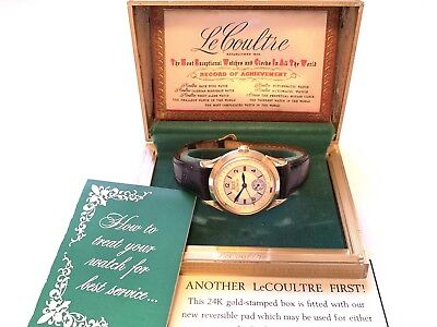 vintage lecoultre day/date calendar swiss  wristwatch with box & papers !