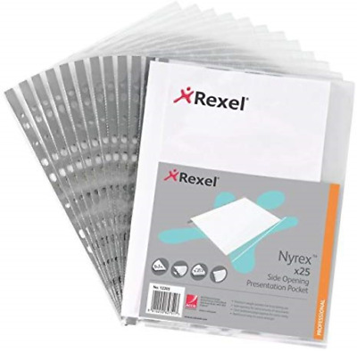 Rexel Nyrex A4 Plastic Punched Wallets Top Opening, Pack of 25