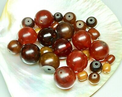 Lot of 28 Vintage Faturan Beads Red & Amber 8mm - 23mm 133 Grams