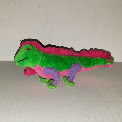 "Green IGUANA LIZARD Plush 6"" Stuffed Animal colorful small tiny little miniature"