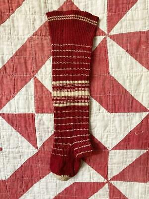 "Old Burgundy n Creme Stripe Child Seamed Sock Stocking AAFA 12"" Vintage Antique"