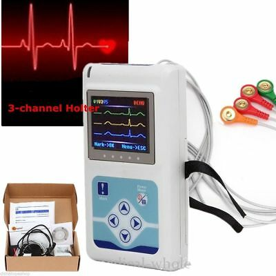 24 Hours Holter Recorder + Software 3-channel ECG EKG Machine Brand New CE