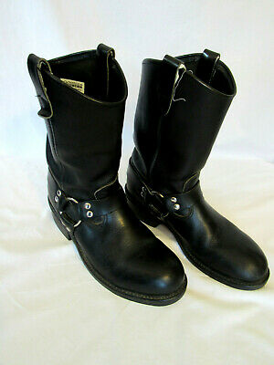 """Double-H Boots Men's 12"""" Ranchwell Harness Leather Boots 2591 Black 9 1/2 D EXC!"""