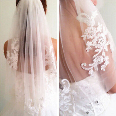NiceLace short Wedding Veil 1T Ivory / white Tulle Elbow Bridal veil + Comb #CY2