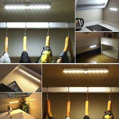 1M-3M Wireless Battery Powered PIR Motion Sensor 10 LED Light Lamp Wall Wardrobe