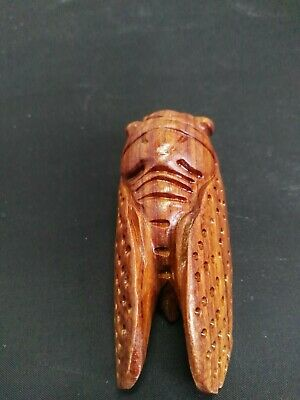 Chinese Collectibles! Rare Old Decorated Handwork Boxwood Carving Cicada Netsuke