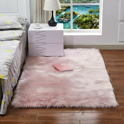 Large Fluffy Plain Thick Sheepskin Rug Soft Faux Fur Shaggy Area Rugs Room Mats