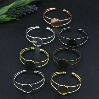 Open DIY 25mm Bangles Bracelet Base Blanks Finding Jewelry Marking Tray Bezel