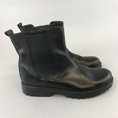 Clarks Size EU34 UK2 F Girls/Ladies Black Leather Ankle Chelsea Zip Up Boots