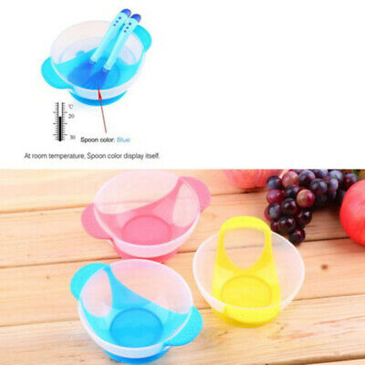 Baby Kids Suction Cup Training Feeding Bowl + Spoon + Fork Tableware Set Safe