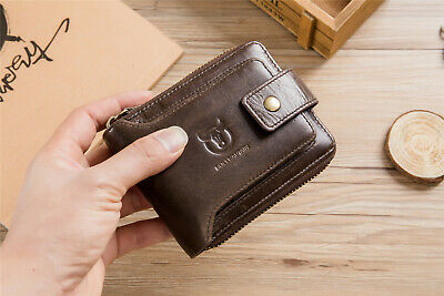 Mens Womens Leather Wallet RFID Blocking Purse Slim Money Credit Card Holder Bag