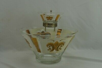 Mid Century Modern Glass Anchor Hocking Chip and Dip Bowl Vintage 1960's