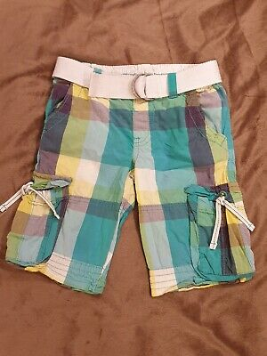 Boys Checked Green Blue Summer Shorts M&S Adjustable Waist 6 Pockets Age 4-5 VGC