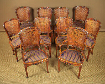 Antique Set of Ten Oak & Bergere Dining Chairs c.1900.