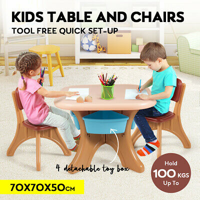 Kids Table and Chairs Set Toy Storage Box Activity Play Desk Children Furniture
