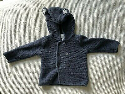 The Little White Company Blue Knitted Cardigan With Bear Ears 3-6 months