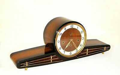 German EJU 1950's Large Mahogany Mantel Clock, Westminster Chimes, Retro Style