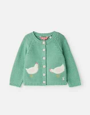 Joules Baby Dorrie Knitted Cardigan Sweater - GREEN CHICKENS