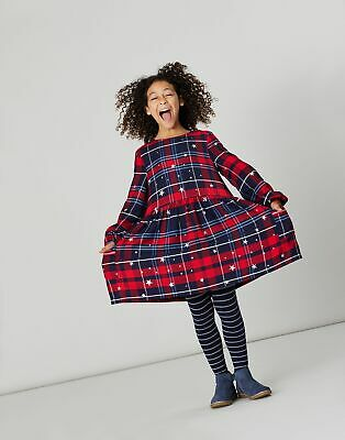 Joules Girls Rowena Woven Dress  - RED CHECK STAR