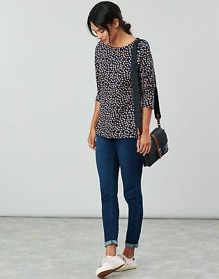 Joules Womens Harbour Print Long Sleeve Jersey Top Shirt in NAVY SPOT