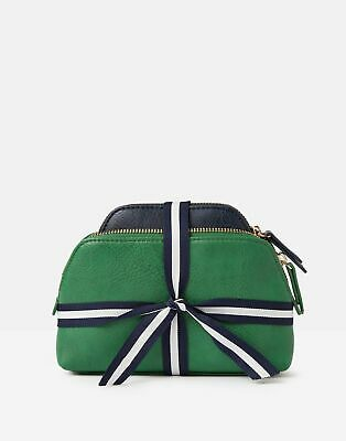 Joules Womens Peplow PU Two Pack Cosmetic Purses in GREEN in One Size