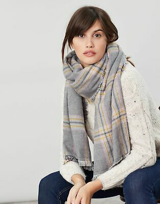 Joules Womens Fearne Check Scarf in GREY CHECK in One Size