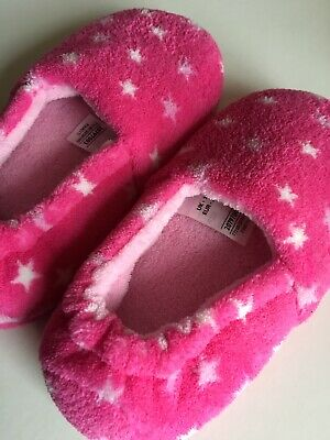 M&S Girls Size 11 Pink Fluffy Star Design Slippers Cosy Warm Christmas