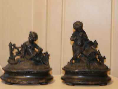 2 french 19 century old antique spelter and wood statues pair set figurine