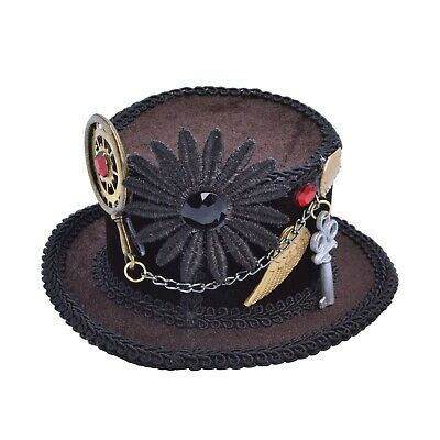 Steampunk Mini Top Hat with Hair Clip Fancy Dress Themed Party