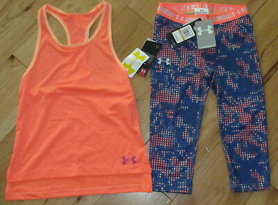 Under Armour tank top & patterned cropped capri leggings NWT girls' S YSM