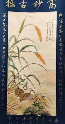 """Chinese Old Ma Quan Scroll Painting Millet&Chicken 72.44"""""""