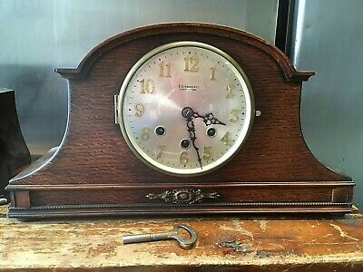 Oak Cased Mantel Clock Westminster Chimes Full Working Order With Key
