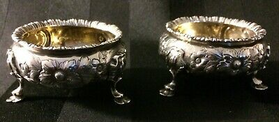 Pair of Antique Sterling Silver Roberts and Briggs Salt Dips