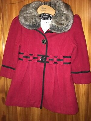 Girls Red Marks & Spencer's Autograph Winter Coat - Age 2-3 Years Faux Fur Trim