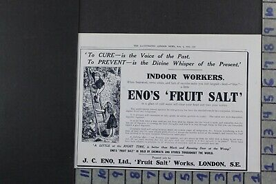 1916 Medical Health Enos Fruit Salt Remedy Cure Liver Detox Ad Dy033