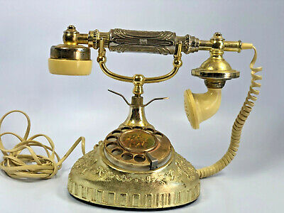vtg French Style Ornate Gold Phone Old Fashioned Rotary Dial Telephone