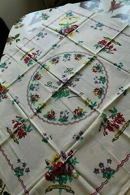 Vintage Tablecloth  'Flowers of Devon and Cornwall'