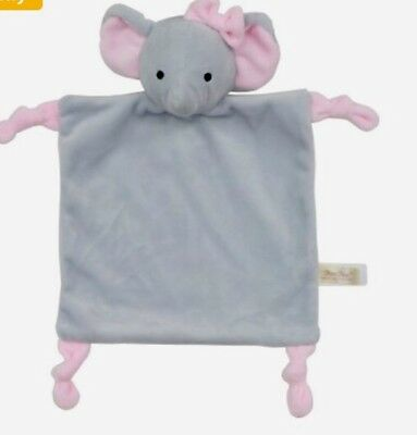 DanDee Pink Gray Elephant Easter Toy Security Blanket Lovey Rattle Baby Knotted