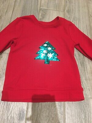Girls Christmas Jumper Top Age 7-8 Years Reversible Sequin Pattern